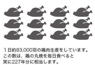 1日約83,000羽の鶏肉生産をしています。この数は、鶏の丸焼を毎日食べると実に227年分に相当します。