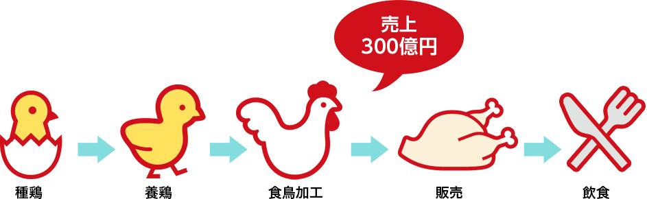 売り上げ300億円 種鶏・養鶏・食鳥加工・販売・飲食
